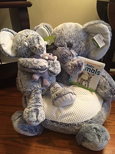 Kids' Plush Soft Elephant Animal Chair 16'' Grey & White, Extra Plush Elephant and Childs Animal Touch Book by Generic