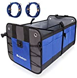 Car Trunk Organizer By Starling's:Eco-Friendly, Super Strong & Durable, Collapsible, Cargo Storage Box For Auto, Trucks, SUV -Adjustable Compartments & Anti-slip/Waterproof Bottom W/Bungee Cords Pair