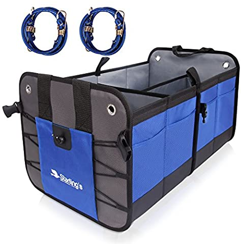 Car Trunk Organizer By Starling's:Eco-Friendly, Super Strong & Durable, Collapsible, Cargo Storage Box For Auto, Trucks, SUV -Adjustable Compartments & Anti-slip/Waterproof Bottom W/Bungee Cords (Sub Cargo Organizer)