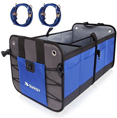 Car Trunk Organizer By Starlings  Premium Cargo Storage Container  Best For Suv  Vehicle  Truck  Auto  Home   Garage Heavy Duty Durable Construction Non Skid Bottom Come With Bungee Cords   Pair