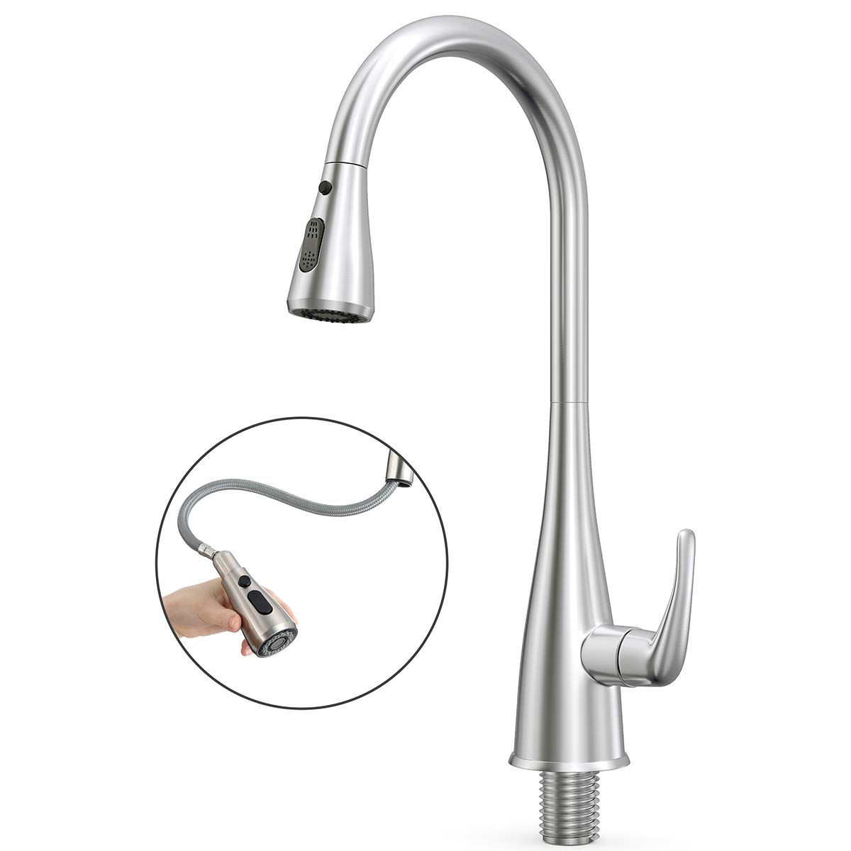 Kitchen Faucet, Prymax Kitchen Sink Faucet Single Handle Pull-Down Delta Kitchen Faucet with Pull Down Sprayer 360 Swivel Hot Cold Conversion Stainless Steel Faucet