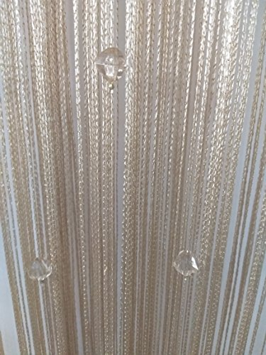 Hanging Bead Fringe (Eve Split Decorative Door String Curtain Wall Panel Fringe Window Room Divider Blind for Wedding Coffee House Restaurant Parts Crystal Tassel Screen Home Decoration (Champagne002))