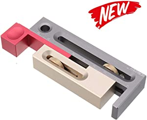KKmoon Table Saw Slot Adjuster Mortise and Tenon Tool Movable Measuring Block Tenonmaker Length Compensation Router Table Set Up Woodworking Tools