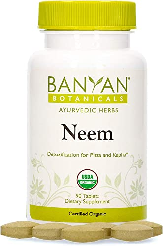 Banyan Botanicals Neem Tablets Organic Neem Supplement Azadirachta Indica for Skin Healthy Hair, Blood, Lymph, Liver More* 90 Tablets Non-GMO Sustainably Sourced Vegan
