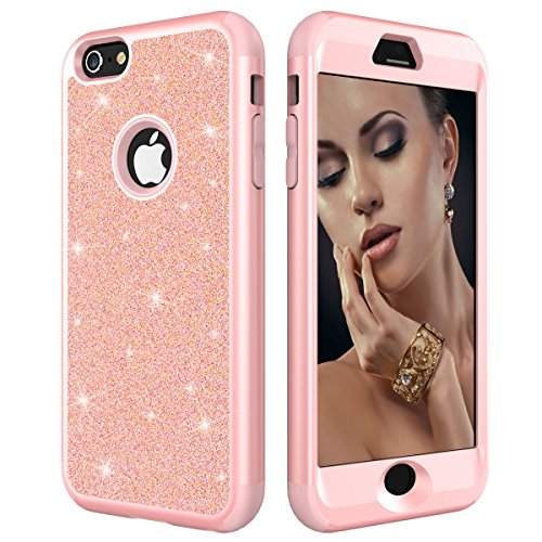 (Fitmore Bling Glitter iPhone 6 Plus iPhone 6s Plus Case, Ultra Slim Fit Soft TPU Back Case Shockproof Anti-Scratch Protective Cover(Rose Gold))