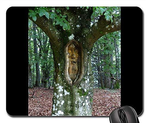 Mouse Pad - Tree Face Forest Spirit Carving Wood Log