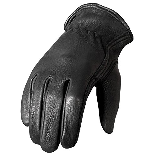 Hot Leathers Classic Deerskin Unlined Driving Gloves (Black, Medium) - Black Leather Riding Gloves