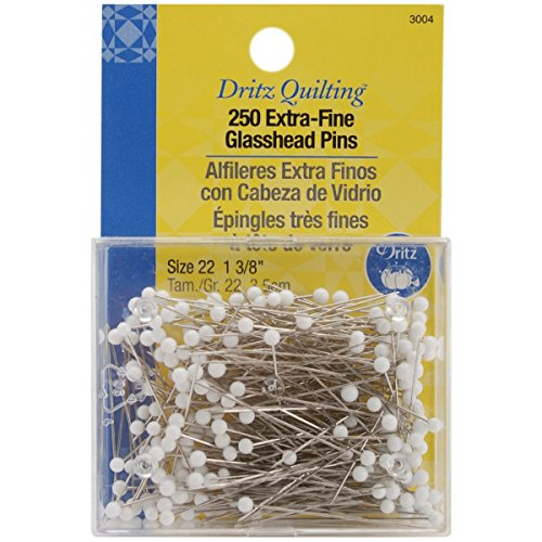 Dritz 3004 Extra-Fine Glass Head Pins, 1-3/8-Inch - Quilting Pins Yellow