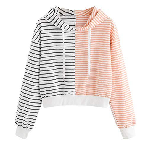 HYIRI Women's Daily Long Sleeve Stripe Patchwork Hooded Pullover Sweatshirt Blouse Tops -