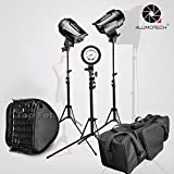 5500K 255WX3 Bowens Mount Stepless Dimming Flash Light+StandX3+Softbox3 For Studio Video Photography Camera Lighting Accessories