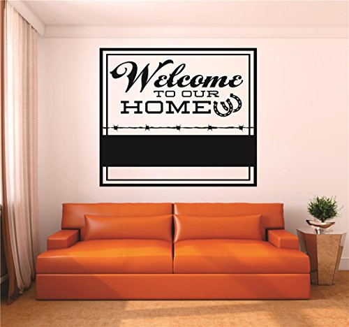 (Design with Vinyl RAD V 346 2 Welcome to Our Home Horseshoe Cowboy Cowgirl Sign Living Room Kitchen Picture Art Home Decoration Decal, 16