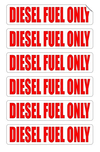 (6-PCs Unblemished Popular Diesel Fuel Only Car Stickers Weatherproof Window Decal Gas Helmet Size 3/4