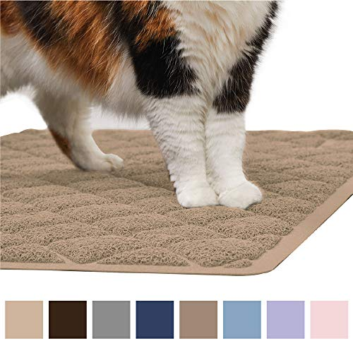 Gorilla Grip Original Premium Durable Cat Litter Mat (35x23), XL Jumbo, No Phthalate, Water Resistant, Traps Litter from Box and Cats, Scatter Control, Soft on Kitty Paws, Easy Clean Mats (Beige)