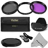 52MM Professional Lens Accessory Kit for NIKON DSLR (D5100 D5000 D3100 D3000 D40 D60 D80 D3200) – Includes: Vivitar Filter Kit (UV, Polarizing, Fluorescent) + Carry Pouch + Tulip Lens Hood + Snap-On Lens Cap + Cap Keeper Leash + MagicFiber Microfiber Lens Cleaning Cloth, Best Gadgets