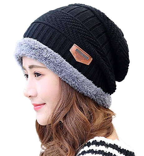 (HINDAWI Winter Hats for Women Slouchy Beanie Snow Knit Ski Warm Skull Caps Black)