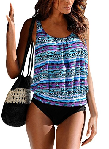 Diukia Women Push Up Padded Pattern Printed Tankini Set Two Piece Swimsuits Bathing Suit S-XL Small (Tank Top Swimsuits)