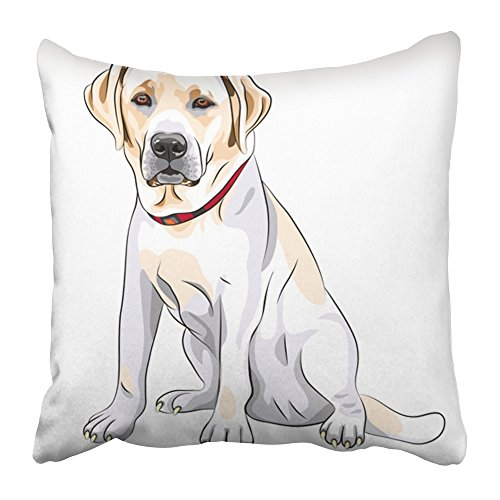 Emvency Throw Pillow Covers Print Black Lab Portrait of Close Up Serious Yellow Dog Breed Labrador Retriever Sits White Sketch Big 18 X 18 Inch Square Zipper Polyester Home Sofa Decorative Case (Breed Portrait Throw)