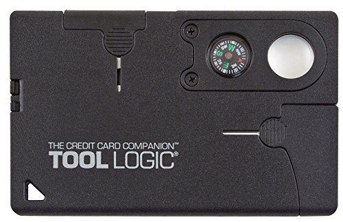 Tool Logic Credit Card Companion with Lens/Compass CC1SB - 9 Tools, Black, 2