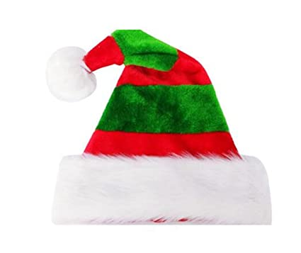 0a9eb9c74c2fd Image Unavailable. Image not available for. Color  Happyjiu Christmas Hat  Double plush Holiday Hat Stripe Santa ...