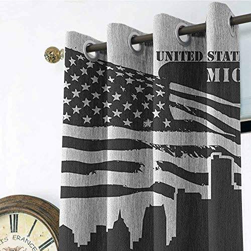 (Detroit Kitchen Gromets Curtain and Valances Set Shading Heat Insulation, Monochrome Grunge City Silhouette American Flag United States Michigan Design Darkening Curtains, Charcoal Grey White, W96 x)