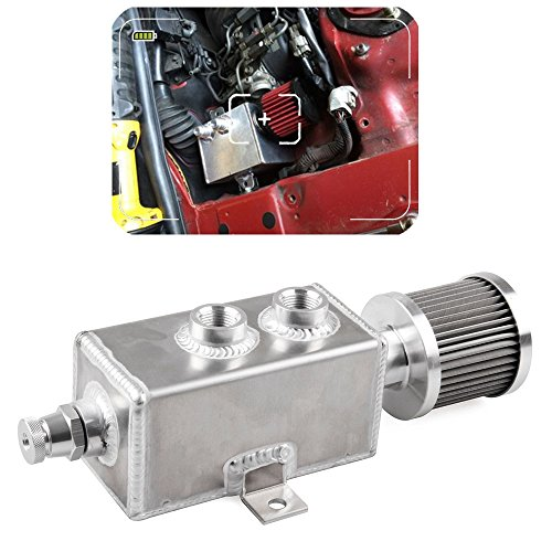 Excluding Tap - Aluminum Oil Catch Can Tank With Breather & Drain Tap 1LT Baffled Reservoir Tank Silver