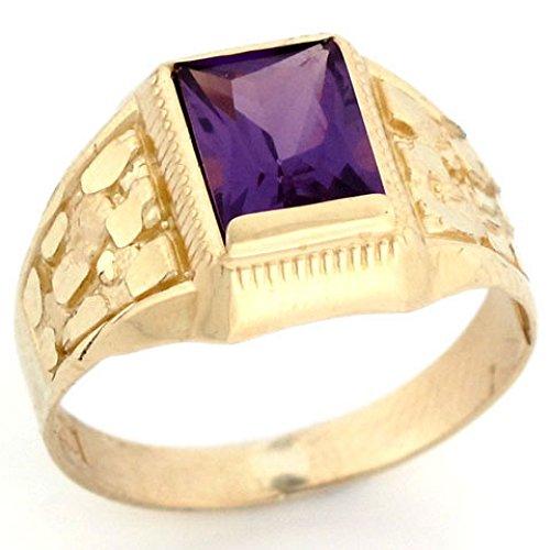 Jewelry Liquidation 10k Real Gold Simulated Birthstone Diamond Cut Nugget Ring
