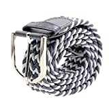 Unisex Canvas Braided Belt Stretch Woven Waist Band Buckle - Gray_White