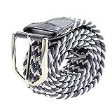 Unisex Canvas Braided Belt Stretch Woven Waist Band Buckle - Gray_White