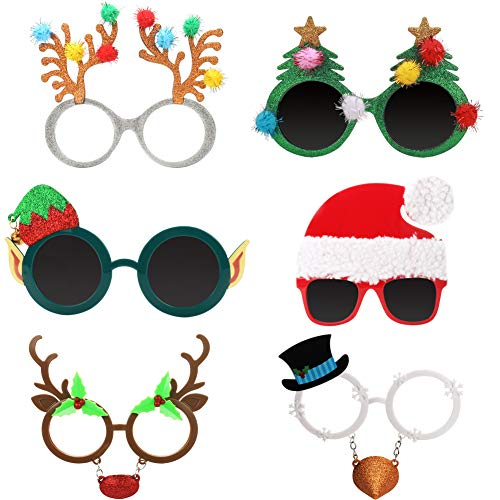 Ocean Line Novelty Christmas Glasses - 6 Pack Creative Funny Eyewear, Happy New Year Celebration, Holiday Costume Party Supplies Decoration for Kids and Adults