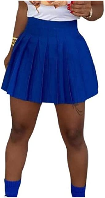 Doufine Falda Corta Plisada Elegante Casual para Mujer Azul Azul ...