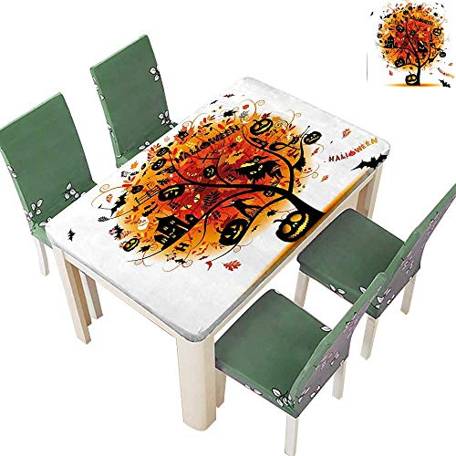 Printsonne Polyesters Tablecloth Distressed Horror Tree with Mystic Halloween Elements Skull Devil Scary Design Wedding Birthday Party 50 x 102 Inch (Elastic -