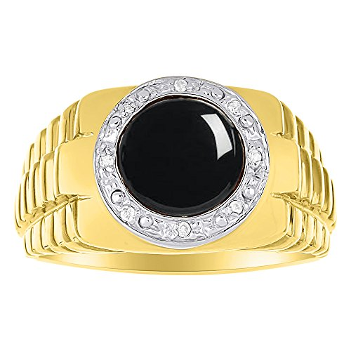(Black Onyx & Diamond Ring set in Solid 14K Yellow Gold. Natural Onyx Special Cut for this Ring. Role X Design)