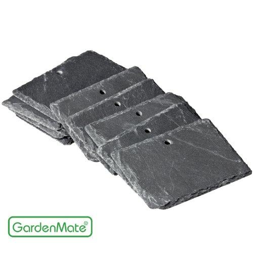 GardenMate® 10er Set Schilder aus Schiefer 10x7cm - Stil naturell