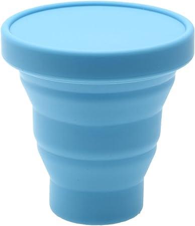 Image ofVaso de té plegable de silicona, ideal para viaje, 200 ml, azul