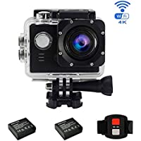 Sport Action Camera 4K Ultra HD Camcorder 16MP WiFi Waterproof Camera 170 Degree Wide View Angle 2 Inch LCD Screen RF/2.4G Remote Control/2 Rechargeable Batteries/20 Accessories Kits (Black)