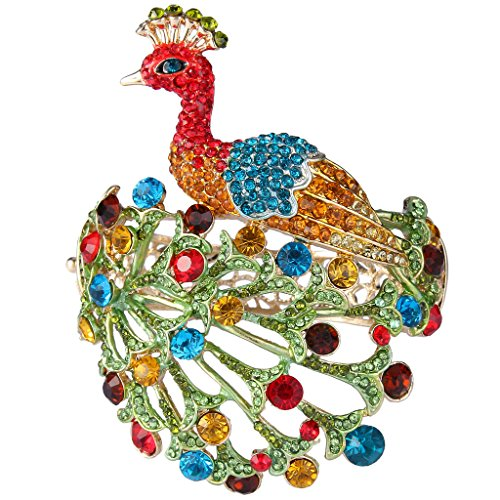 EVER FAITH Gold-Tone Austrian Crystal Enamel Chic Peacock Bird Bangle Bracelet Multicolor