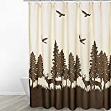 Eforgift Heavy Duty Germ Free Polyester Fabric Curtain for Bathroom Waterproof Mildew Resistant Shower Curtain Coffee Decorative Cute Safari Deers in Forest, Rustproof Metal Grommets, 54' x 78'