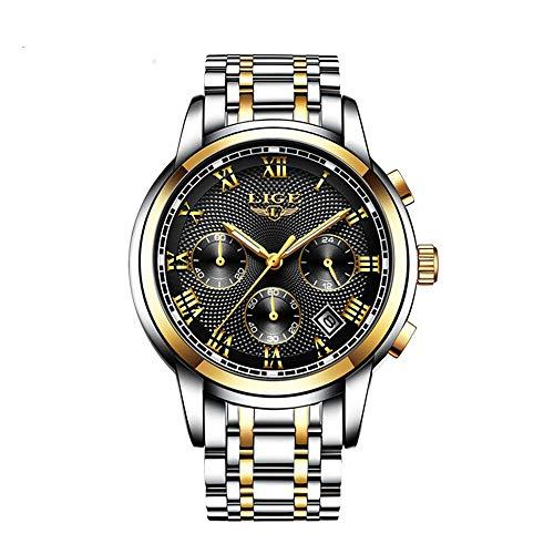 Mens Watches Waterproof Chronograph Stainless Steel Analog Quartz Watch Men Luxury Brand Fashion Dress Business Wristwatch]()