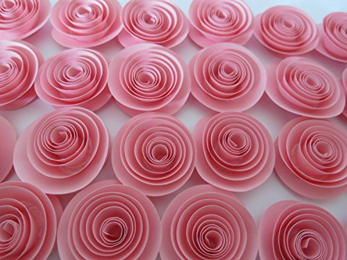 Cute Pink Paper Flowers Set of 24 Bulk Roses Lot, Girl Nursery Decorating Ideas, Baby Shower Decor, Wedding Reception Table Scatter, Bridal Party Gift, 1.5