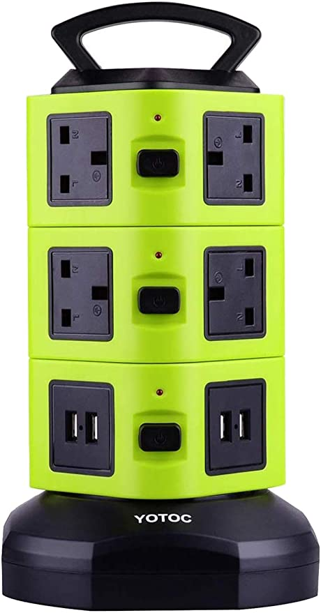 Power Strip,YOTOC 10 Way Outlet Multi Plug Electric Socket Extension Lead Tower Surge Protector with Retractable 3m/9.8ft Power Cable and 4 USB Built-in Safety Shutter Green: Amazon.co.uk: DIY & Tools
