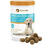 Cheap POINTPET Omega 3 6 9 for Dogs, Skin and Coat Fish Oil Supplement, Natural Fatty Acids with EPA & DHA, Helps with Dry and Itchy Skin – Supports Immune, Heart and Brain Health, 120 Soft Chews