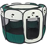 Pet Puppy Playpen Dog Kennel - Collapsible Folding Portable Pets Play Pen - Dog Kennels and Crates Enclosures For Small Medium Large Dogs - Indoor and Outdoor Use - Zippered Top - Zip Open Mesh Door