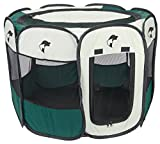 """Green Portable Pet Playpen Puppy Dog Folding Crate Pen - 36"""" X 23"""" Fold up Indoor Outdoor Dog Cat Play Pen - Zippered Top and Door Access with Stakes Included. Brand: Perfect Life Ideas"""