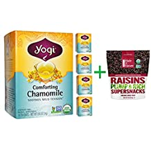 Yogi Tea, Comforting Chamomile, Caffeine Free, 16 Tea Bags, .85 oz (24 g)( 5 PACK ) + Made in Nature, Organic Raisins, 9 oz (255 g)