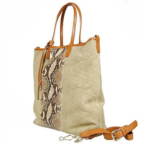Gianni Chiarini - Shopping bag in tessuto e pelle, Gianni Chiarini, made in Italy - Sabbia/Cuoio - BS1206/13PE-302CNV-ITV SAND-SASS - UNICA