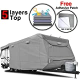 """KAKIT Heavy Duty 5 Layers Travel Trailer RV Cover, Fits 22'1"""" - 24' RVs - Breathable Waterproof Anti-UV Ripstop Camper Cover With 12 PCS Windproof Buckles & Adhesive Repair Patch (25.4""""&59"""")"""