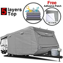 """RVMasking Heavy Duty 5 Layers Travel Trailer RV Cover, Fits 31'7"""" - 34' RVs - Breathable Waterproof Anti-UV Ripstop Camper Cover With 15 PCS Windproof Buckles & Adhesive Repair Patch (25.4""""&59"""")"""