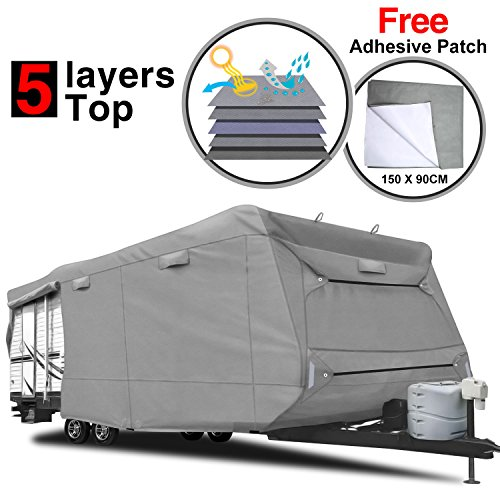 RVMasking Heavy Duty 5 Layers Top Travel Trailer RV Cover Fits 22'1