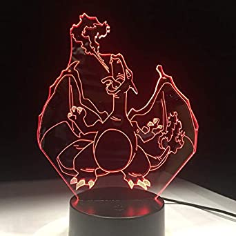 Pokemon Lamp Charizard Form 7 Farbwechsel Nachtlicht 3D Tischlicht Kostenlos