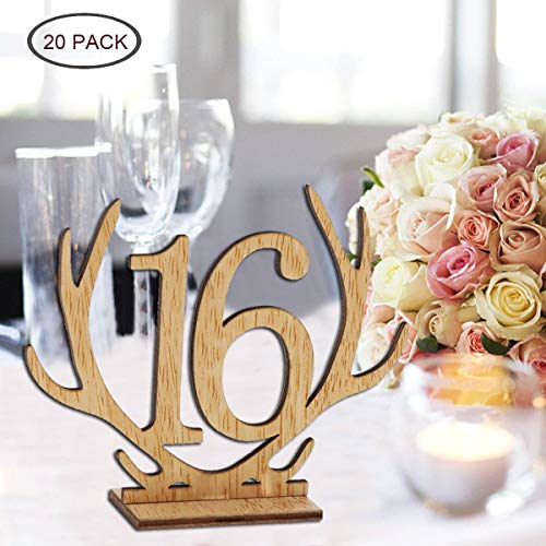 Wellinc Table Numbers 20 Pack (Number 1-20) Wedding Wood Table Numbers Unique Design Party Table Cards for Wedding Events and Banquet by Wellinc (Image #7)